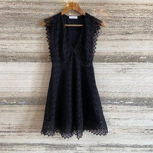 SANDRO French Designer Dress Black Lace Size 36 NEW PREMIUM